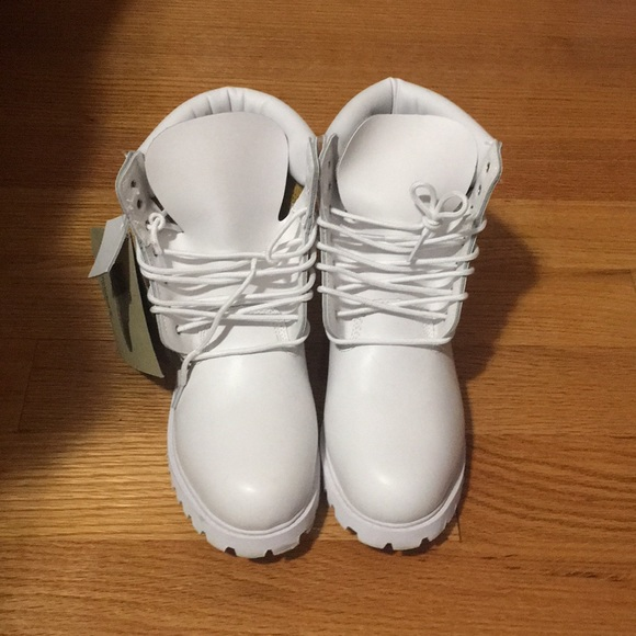 Womens White Leather Timberland Boots